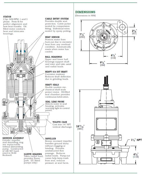 Item # WG20-21-15, Standard 2 HP Submersible Grinder Pumps On Rapid Pump &  Meter/ Machinery Services Corp.   Myers Grinder Pump Wiring Diagram      All Products - Machinery Services Corp.