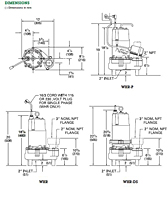 Dimensions (Myers® WHR and WHR-DS 2 in. Solids Handling Sewage Pumps)