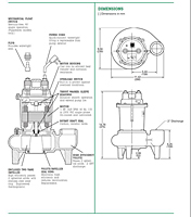 Dimensions (Myers® MW50 Series 2 in Solids Handling Sewage Pumps)